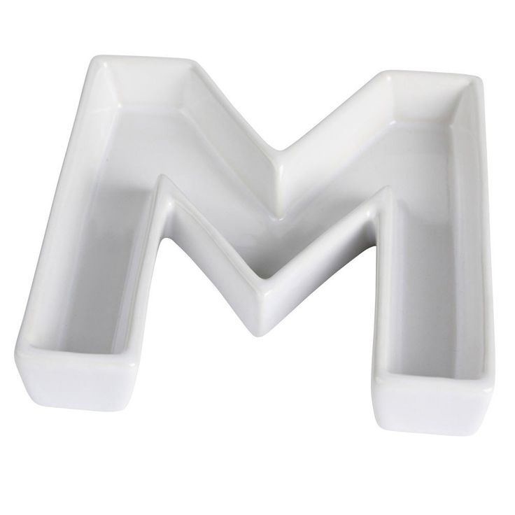 Ceramic Letter Dish - Letter M Shaped Candy Dish 6 inch - White