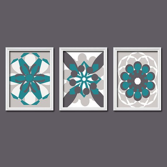 Gray teal wall art canvas or prints bedroom pictures for Teal and grey bathroom sets