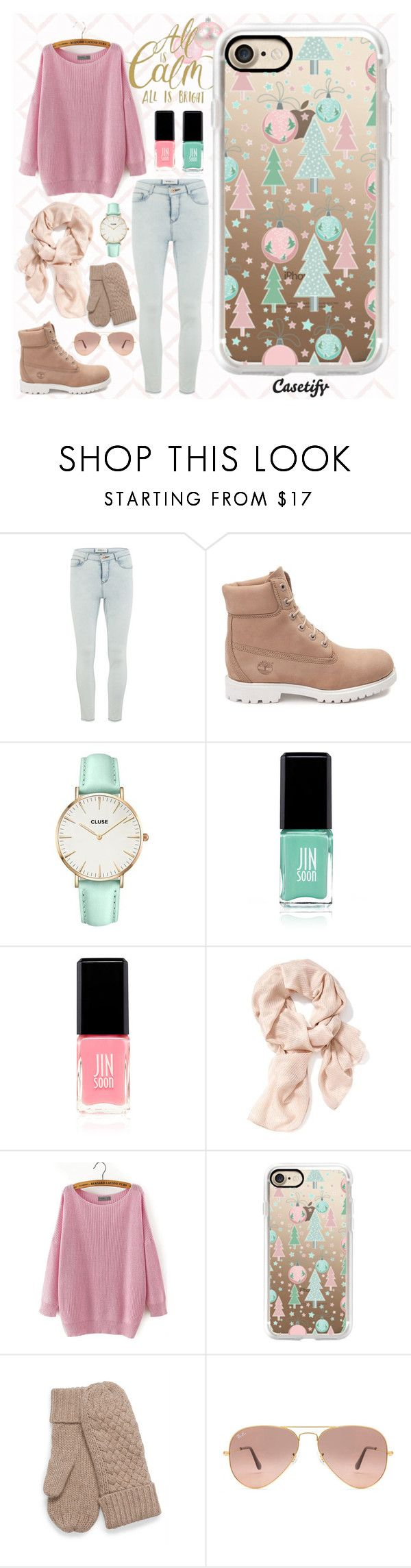 """""""Under the Christmas Tree 🎄"""" by casetify ❤ liked on Polyvore featuring Vero Moda, Timberland, CLUSE, Jin Soon, JINsoon, Old Navy, Casetify and Ray-Ban"""