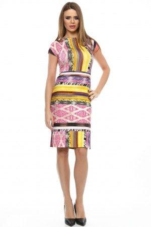 Rochie tricot imprimeu geometric cu joc de dungi talie, baza.
