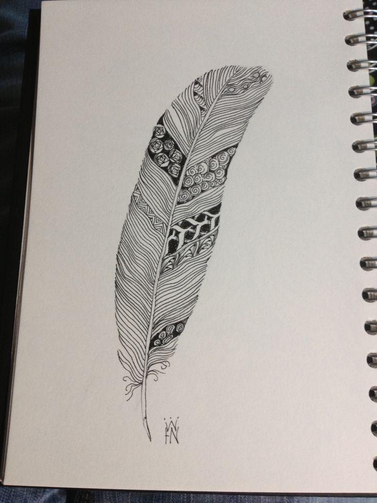 zentangle feather | Zentangle Feather 9.8.13 | Zen Tangles!