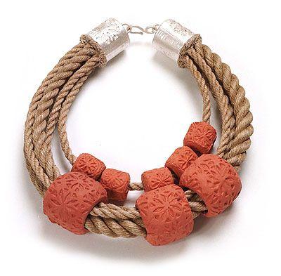 Willemijn de Greef  Necklace: Drijvers II 2009  Silver, rope, ceramic