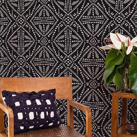Bathroom? -- Add a tribal touch to any room with our Batik Allover Wall Stencil. Create two different looks stenciling it light over dark as we show, or dark over light for a more subtle feel.