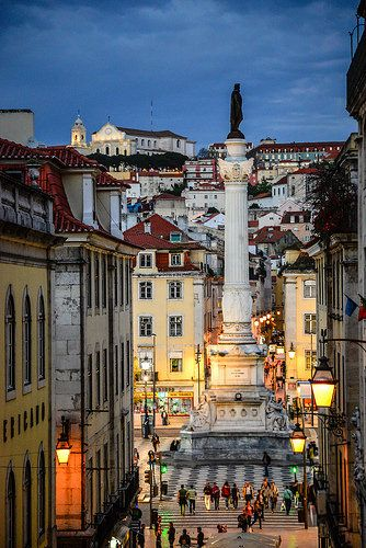 Column of Pedro IV in Rossio Square viewed at Night from Bairro Alto - Lisbon Portugal