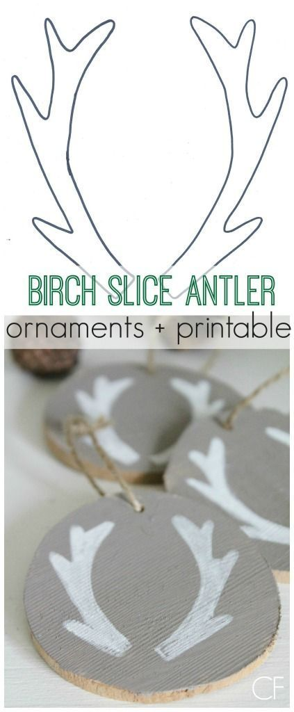 Birch Slice Antler Ornaments + Printable City Farmhouse
