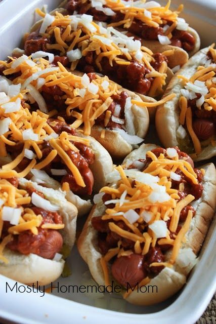 Chili Cheese Dogs in the Slow Cooker or Oven Recipe. Description from pinterest.com. I searched for this on bing.com/images