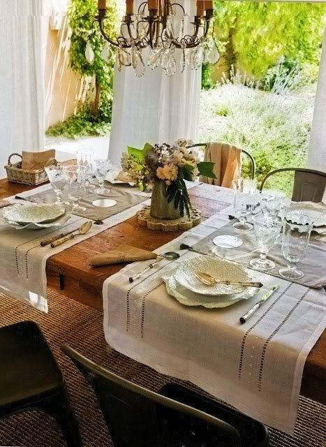 via My French Country Home...I like how the table runners are horizontal across the table for placemats on both sides