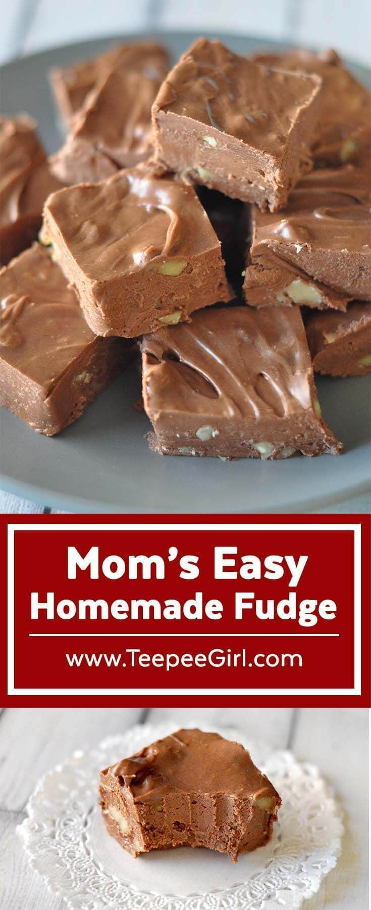 My mom has been making this fudge for as long as I can remember. It's creamy, decadent, and best of all, easy! Get the recipe at www.TeepeeGirl.com. #fudge #easyfudgerecipe #christmasfood (semi homemade desserts)