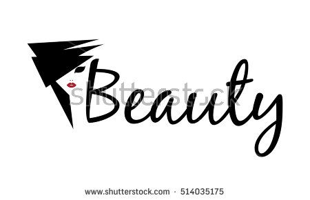 Beautiful black silhouette woman face with red lips, hairstyle in abstract style Beauty Logo, sign, symbol, icon for salon, spa salon, firm company or center. Vector illustration