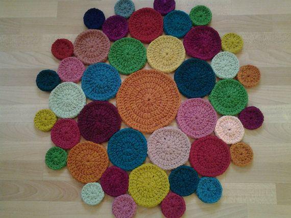 Crochet round rug 32 6'' 83 cm/Crochet by AnuszkaDesign on Etsy, $95.00