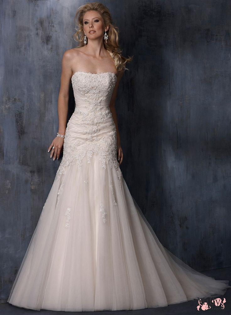 A-line strapless tulle lace wedding dresses BAMW008