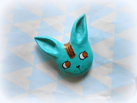 Clay bunnyooakbunny pinturquoise bunny by cukipokshop on Etsy