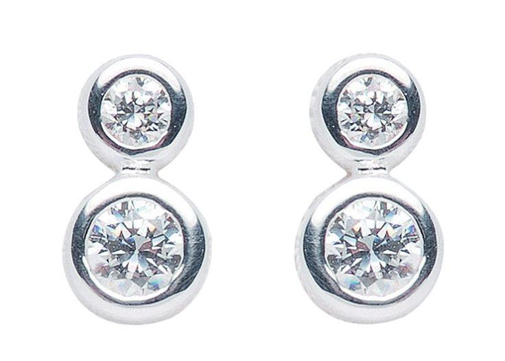 Ohrringe Silber Zirkonia (Silber 925) - Rund - Double Circle Amoonic