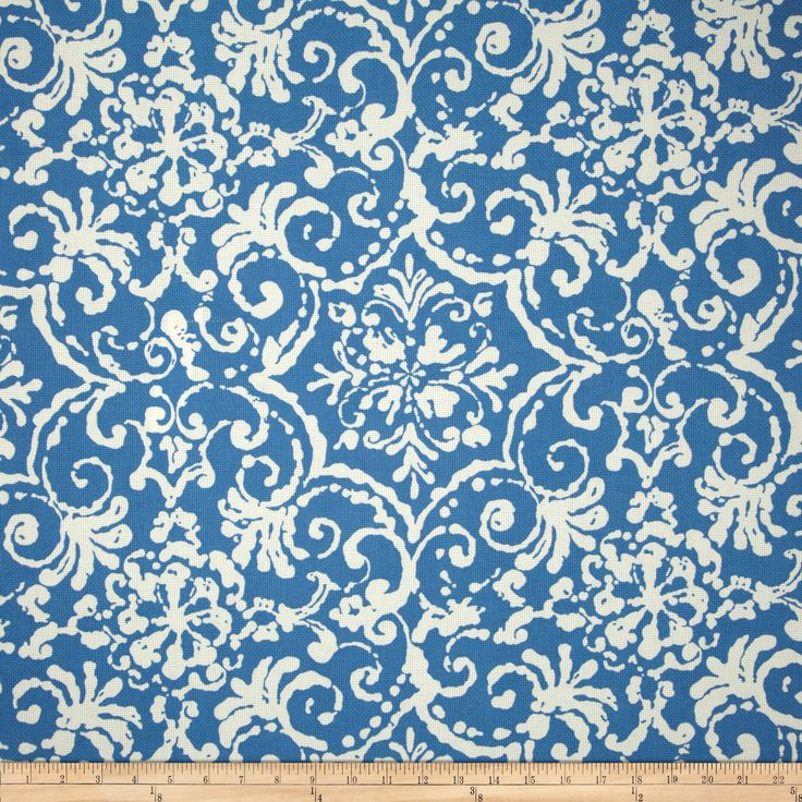 P Kaufmann Indoor/Outdoor Print Affair Cornflower Fabric