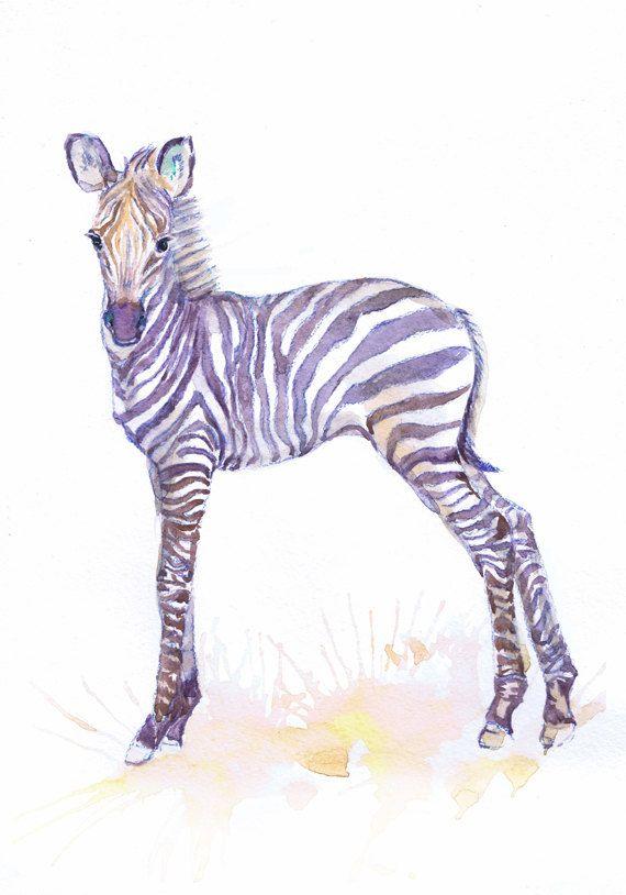 Baby Zebra Art aquarel schilderij Boy Girl kwekerij door ValrArt