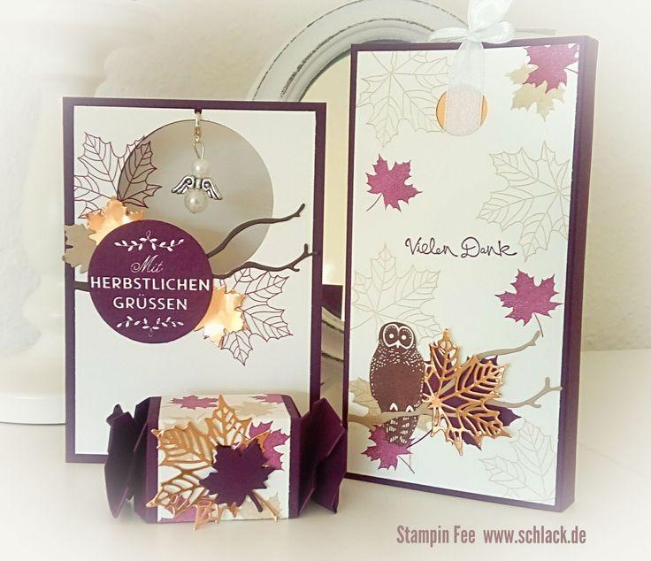 stampin autumn Holiday catalog 2017 owl leaves candywrapper Card chocolate lift goodie treat copper foil kupfer Glanzpapier eule herbst blätter schokoladen lift engel angel Knallbonbon box