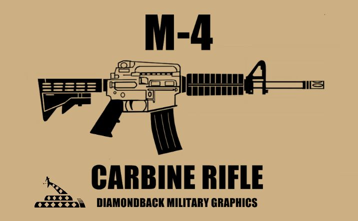 M-4 carbine vinyl decal available at Diamondbackgraphics.etsy.com