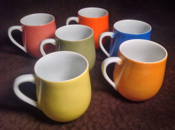 "Set of 6 Demitasse Cups Porcelain China Espresso Cappuccino Mugs 2 1/2"" Rainbow  | eBay"