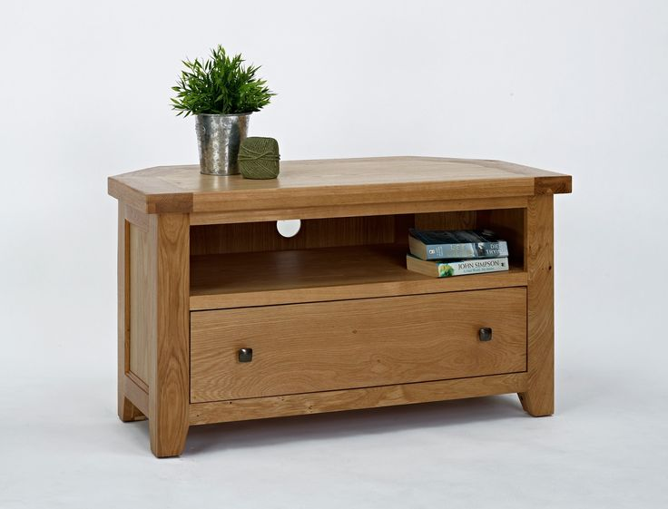 Devon Oak Corner TV Unit - The Devon Oak Corner TV Unit is compact and well designed, enabling it to fit easily into a corner or small space. Carefully constructed from the highest quality oak, this corner TV unit displays varying textures and grains which add to its unique and special feel.