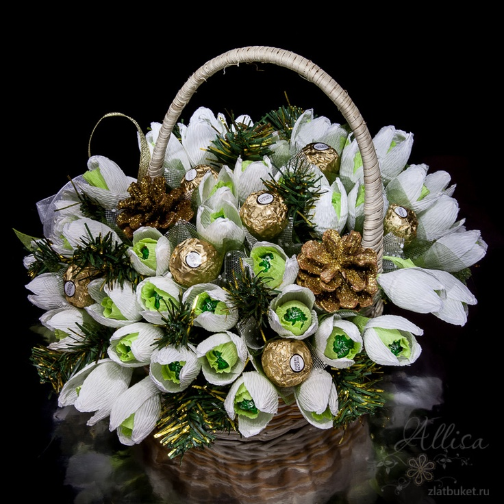 Large basket of candy snowdrops
