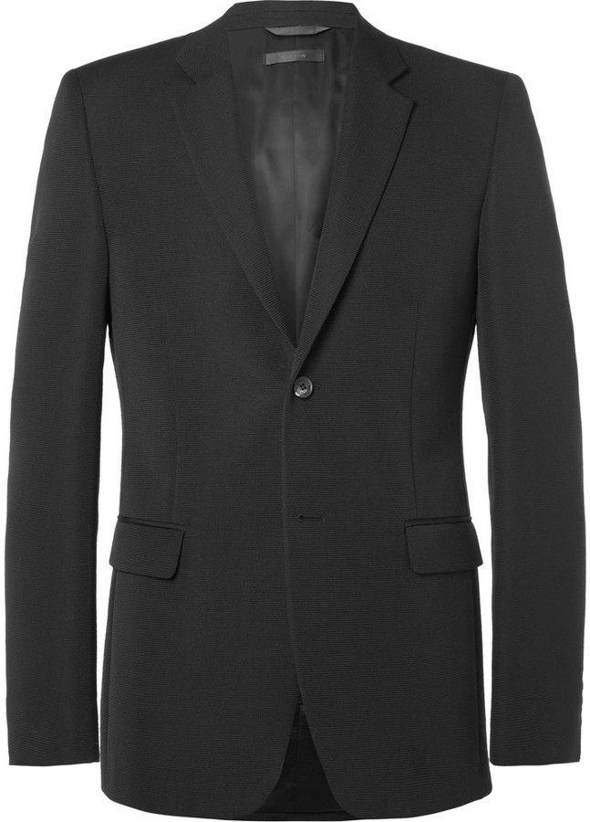 Calvin Klein Collection Black Bowery Slim-Fit Wool-Faille Blazer