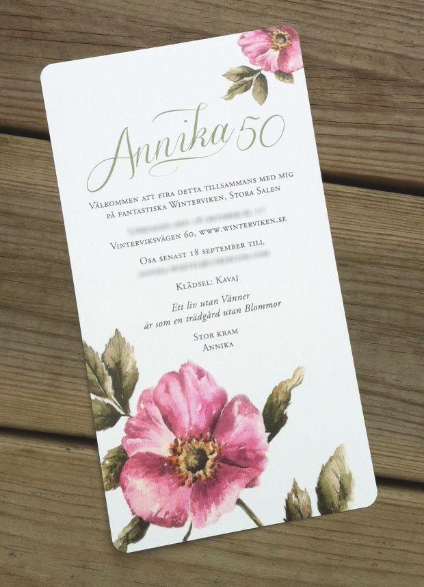 Ett inbjudningskort till ett 50-årskalas. Finns i webshopen som inbjudan till bröllop, fest...