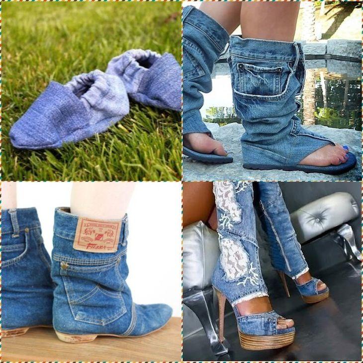 Джинсовая обувь:  Используя обрезки, вы можете сделать достаточно оригинальную обуви или модернизировать старую