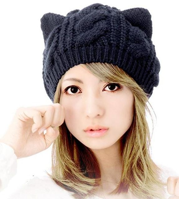 Source New trendy women acrylic knitted hat girls winter caps with cat ears beanie hats on m.alibaba.com