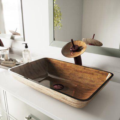 Vigo Amber Sunset Rectangular Vessel Bathroom Sink Sink