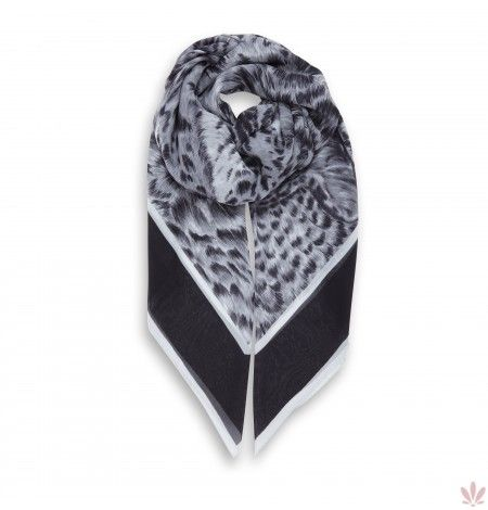 Leopard Dreams Grey Square Georgette Scarf. Free shipping, by Fulards.com