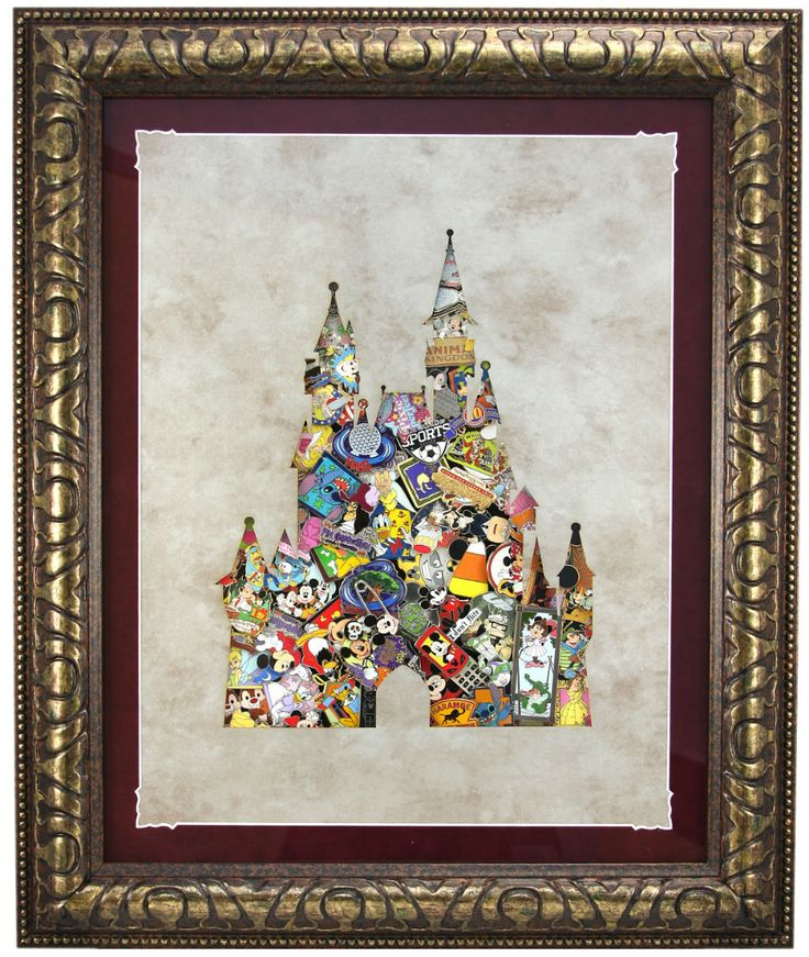 Disney Parks Shopping Card and Deluxe Framed Castle Pin Set Product