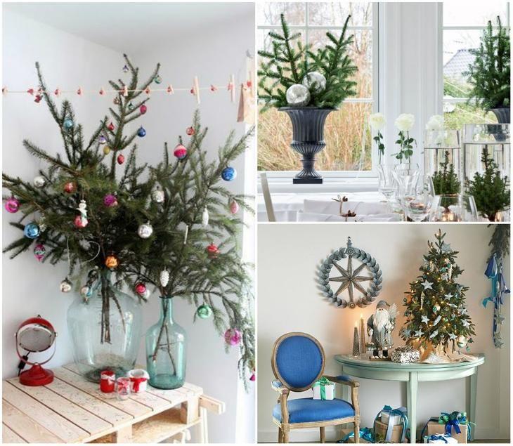 Маленькие елки и ветви в новогоднем убранстве квартиры