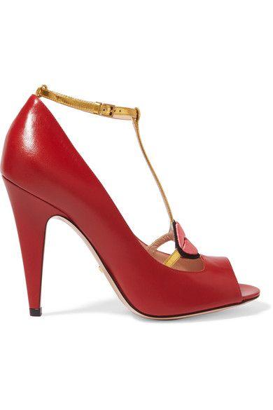 Gucci - Lip-appliquéd Leather T-bar Sandals - Red - IT