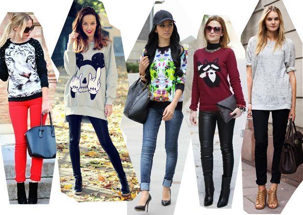 Женские свитшоты : модные образы, с чем носить свитшот в 2017