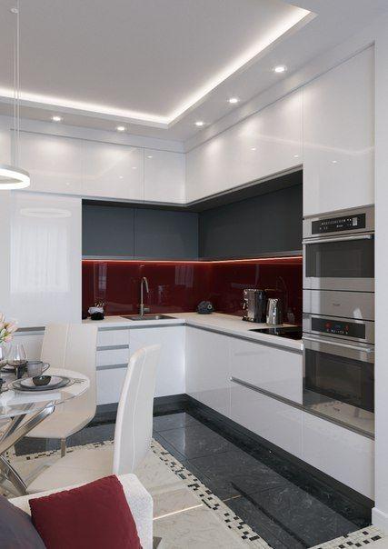 White small kitchen with round table Фотографии Ильи Еремкина #cocinasmodernasideas