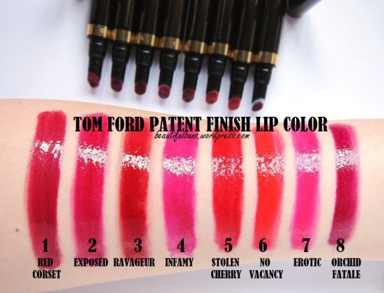 Tom Ford Patent finish lip color - swatches