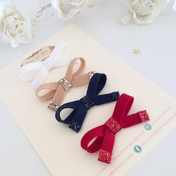 Tie Bow Headband Tie Bow Clip Felt & Glitter Bow Double