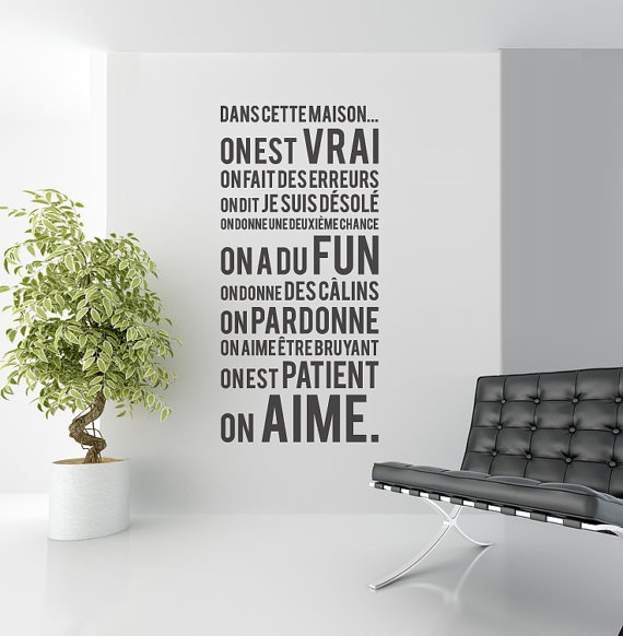 French in this house we do decal. Dans cette maison