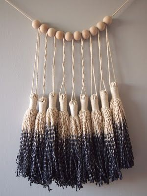 DIP dyeing  now there's an idea ouch flower Dip dyed black tassel garland - finish off bottom of wall hanging with these tassels