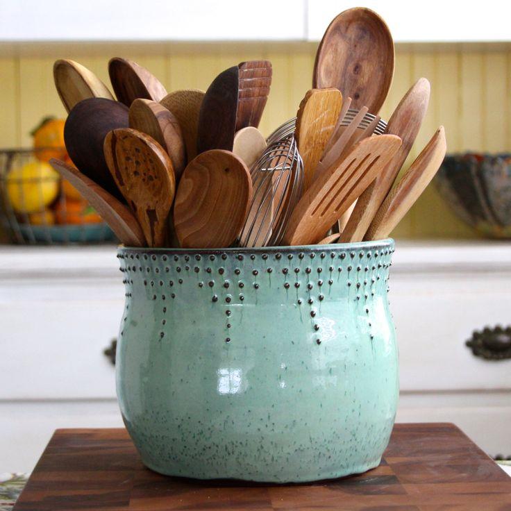 Extra Large Kitchen Utensil Holder Aqua Mist Hand Thrown Vase Modern Home Decor Made To