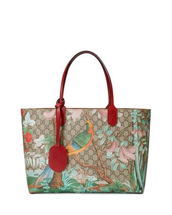 Medium Tian-Print GG Supreme Tote Bag, Multi by Gucci. I'm in love with this seasons print.Timeless and classic.