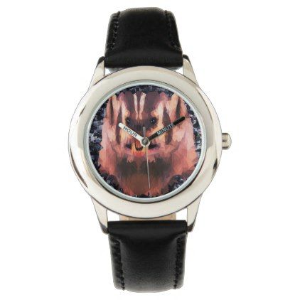 Angry Badger Picture Made With Triangles Wristwatch - accessories accessory gift idea stylish unique custom