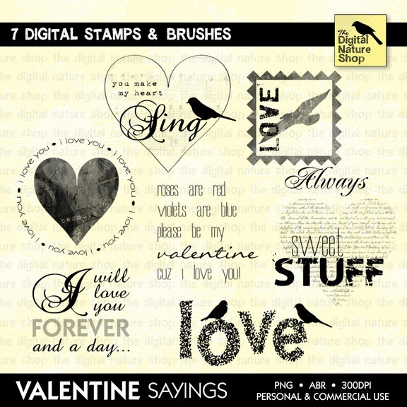 Valentine Sayings - Words of Love - Scrapping Quotes - 7 Digital Stamps and Brushes - INSTANT DOWNLOAD - for Cards, Scrapbooking, Crafts. $4.95, via https://www.etsy.com/listing/121229654/valentine-sayings-words-of-love#
