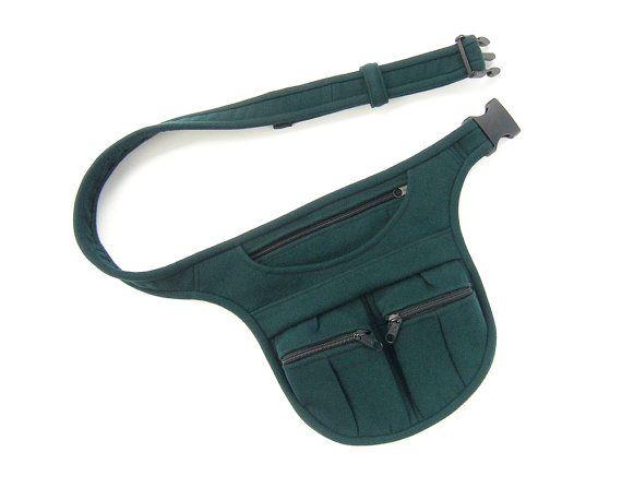 DARK GREEN BELT BAG • Festival pocket belt, bicycle belt bag, waist bag for artists by Nomadum, $78.00