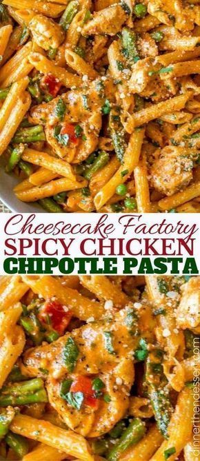 Spicy Chicken Chipotle Pasta from The Cheesecake Factory with asparagus, bell peppers and peas with honey glazed chicken in a spicy chipotle parmesan cream sauce.