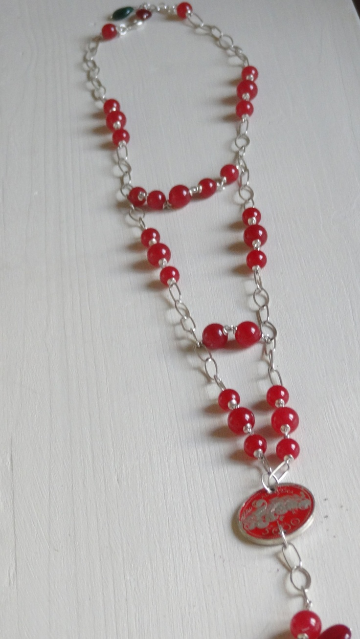 necklace silver, red jade e one, unique italian Lira (£) coin emaled Made by myself
