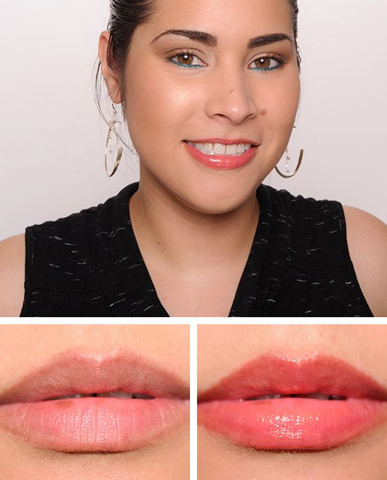 Maybelline Glistening Coral (525) Color Elixir Iridescent Lipgloss ($8.99 for 0.17 fl. oz.) is a brightened, medium orange with very subtle gold pearl. As