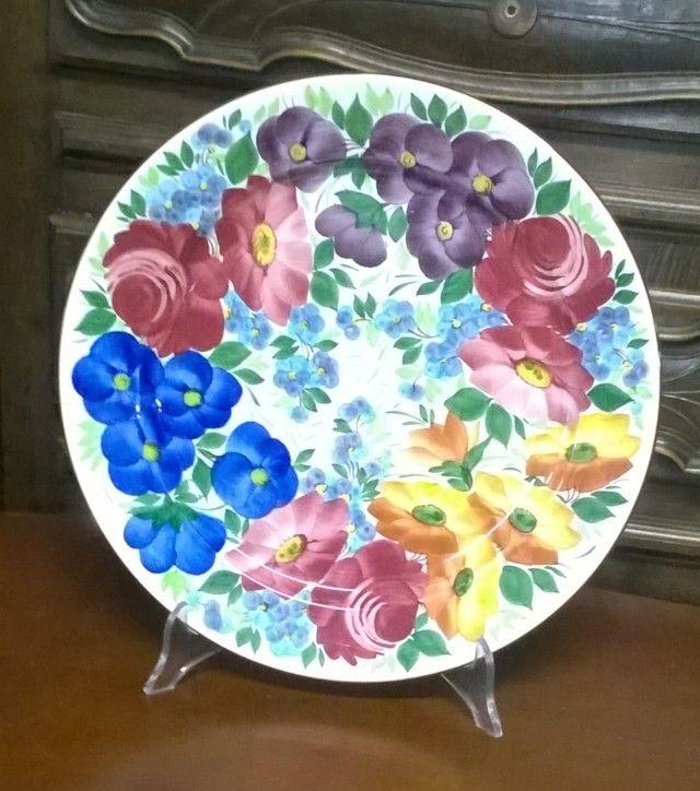 Coppia piatti Ceramica Galvani dipinti a mano, prima metà 900