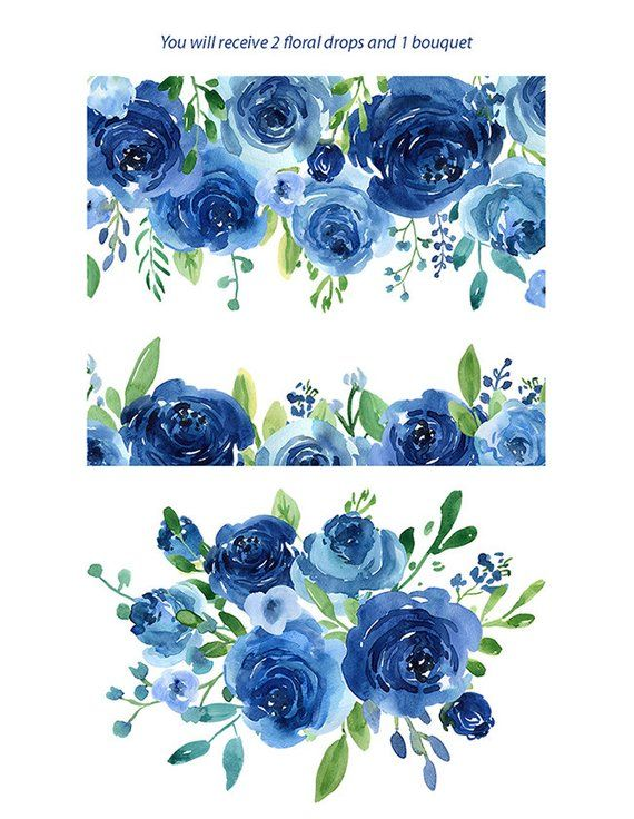 Watercolor Flowers Clipart Blue Roses Leaves Branches Free