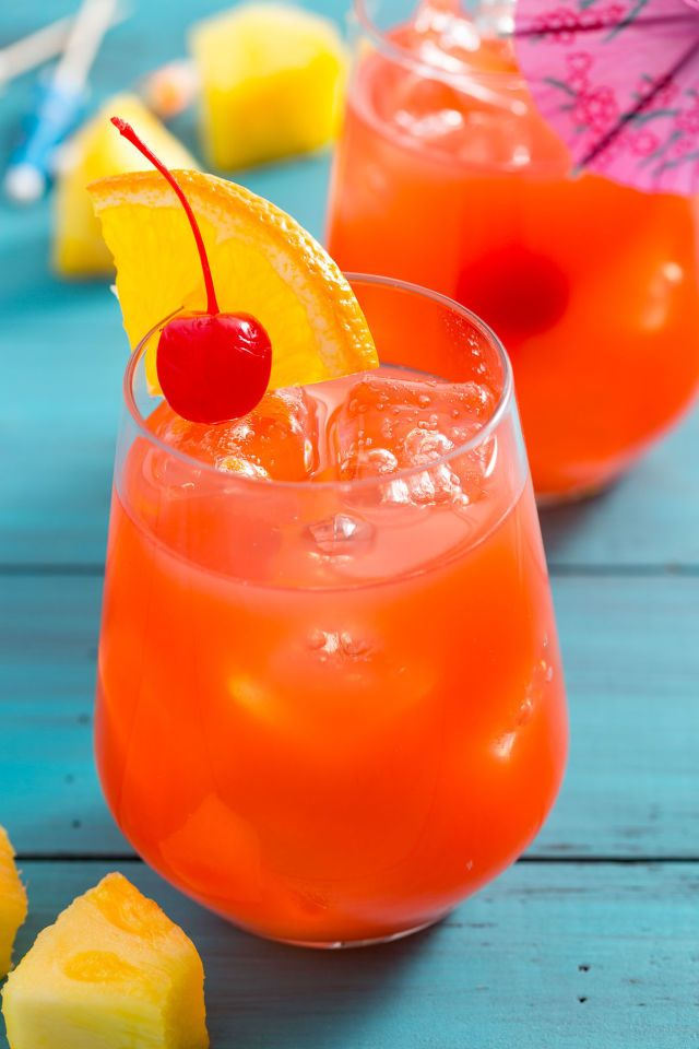 Hurricane - This iconic fruity, boozy drink will transport you right to Bourbon Street.  DIRECTIONS 1. In a large liquid measuring cup, mix first 5 ingredients. 2. Pour over iced-filled glass. 2. Garnish each glass with an orange slice and a maraschino cherry.